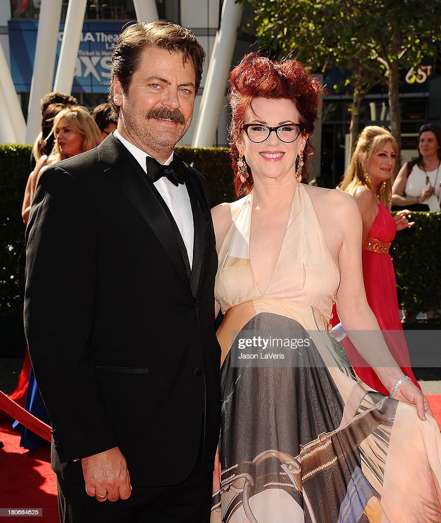Actor <a gi-track='captionPersonalityLinkClicked' href=/galleries/search?phrase=Nick+Offerman&family=editorial&specificpeople=3142027 ng-click='$event.stopPropagation()'>Nick Offerman</a> and actress <a gi-track='captionPersonalityLinkClicked' href=/galleries/search?phrase=Megan+Mullally&family=editorial&specificpeople=201612 ng-click='$event.stopPropagation()'>Megan Mullally</a> attend the 2013 Creative Arts Emmy Awards at Nokia Theatre L.A. Live on September 15, 2013 in Los Angeles, California.