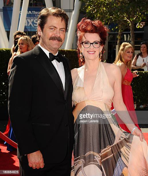 Actor Nick Offerman and actress Megan Mullally attend the 2013 Creative Arts Emmy Awards at Nokia Theatre LA Live on September 15 2013 in Los Angeles...