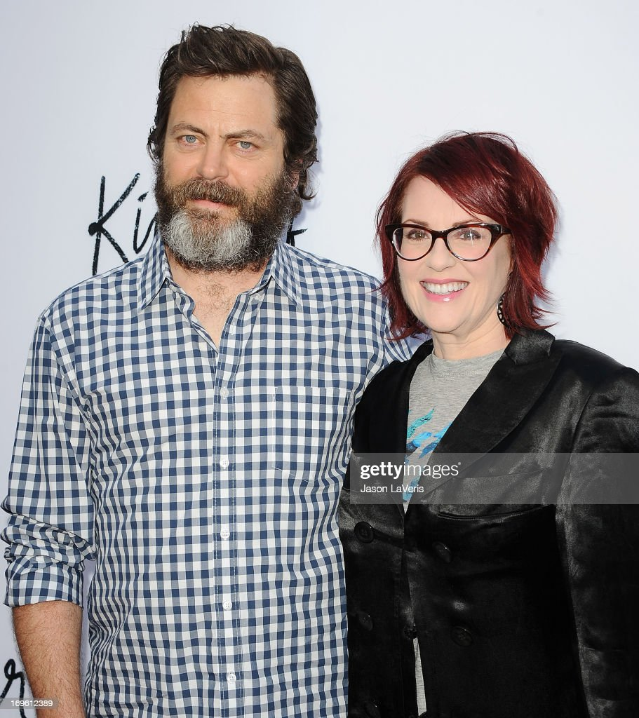 Actor <a gi-track='captionPersonalityLinkClicked' href=/galleries/search?phrase=Nick+Offerman&family=editorial&specificpeople=3142027 ng-click='$event.stopPropagation()'>Nick Offerman</a> and actress <a gi-track='captionPersonalityLinkClicked' href=/galleries/search?phrase=Megan+Mullally&family=editorial&specificpeople=201612 ng-click='$event.stopPropagation()'>Megan Mullally</a> attend the premiere of 'The Kings Of Summer' at ArcLight Cinemas on May 28, 2013 in Hollywood, California.
