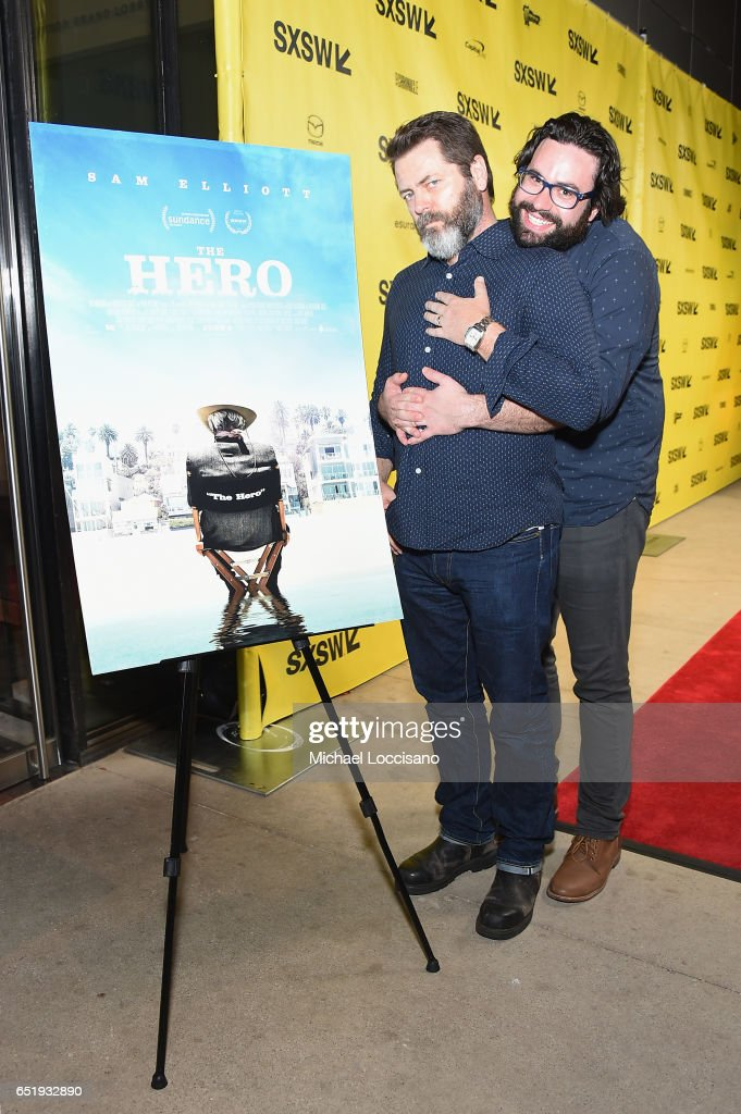 Actor Nick Offerman (L) and Writer/Director Brett Haley attend the premiere of 'The Hero' during 2017 SXSW Conference and Festivals at the ZACH Theatre on March 10, 2017 in Austin, Texas.