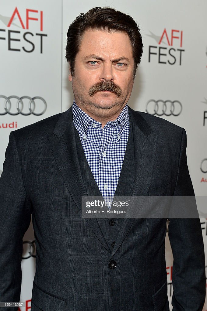 Actor <a gi-track='captionPersonalityLinkClicked' href=/galleries/search?phrase=Nick+Offerman&family=editorial&specificpeople=3142027 ng-click='$event.stopPropagation()'>Nick Offerman</a> arrives at the gala screening of 'Somebody Up There Likes Me' during the 2012 AFI Fest presented by Audi at Grauman's Chinese Theatre on November 3, 2012 in Hollywood, California.