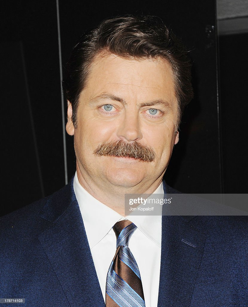 Actor Nick Offerman arrives at the Los Angeles Premiere 'Paradise' at Mann Chinese 6 on August 6, 2013 in Los Angeles, California.