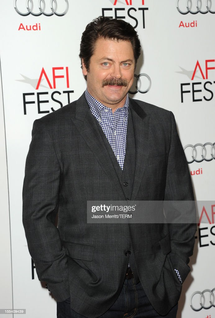 Actor <a gi-track='captionPersonalityLinkClicked' href=/galleries/search?phrase=Nick+Offerman&family=editorial&specificpeople=3142027 ng-click='$event.stopPropagation()'>Nick Offerman</a> arrives at the 'On The Road' premiere during the 2012 AFI Fest presented by Audi at Grauman's Chinese Theatre on November 3, 2012 in Hollywood, California.
