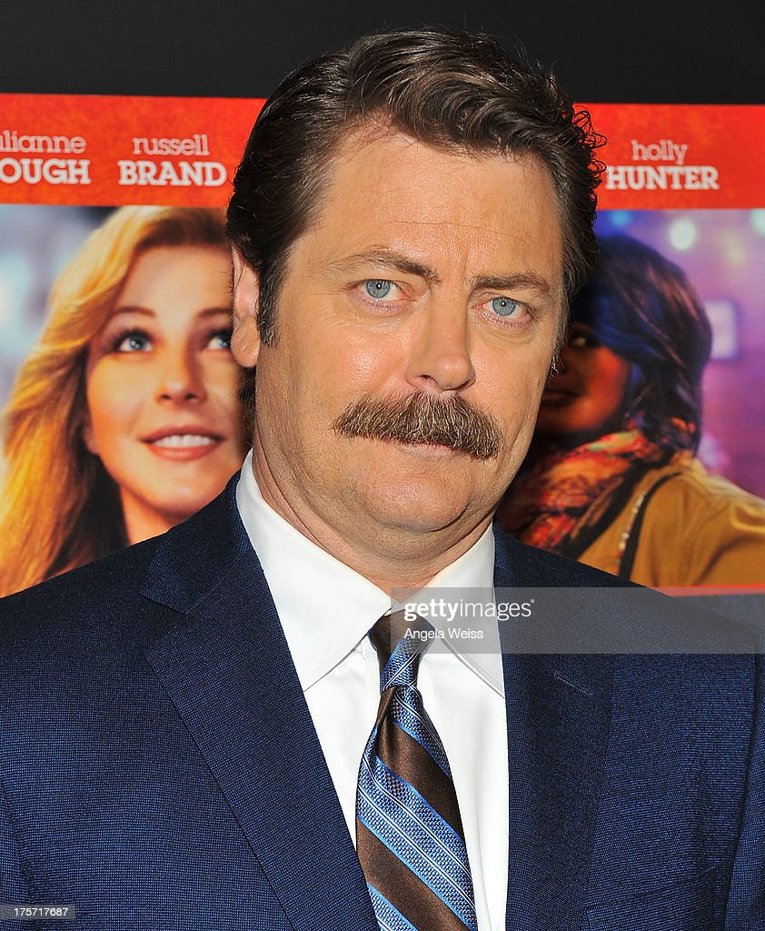 Actor <a gi-track='captionPersonalityLinkClicked' href=/galleries/search?phrase=Nick+Offerman&family=editorial&specificpeople=3142027 ng-click='$event.stopPropagation()'>Nick Offerman</a> arrives at the premiere of DirecTV's 'Paradise' at Mann Chinese 6 on August 6, 2013 in Los Angeles, California.