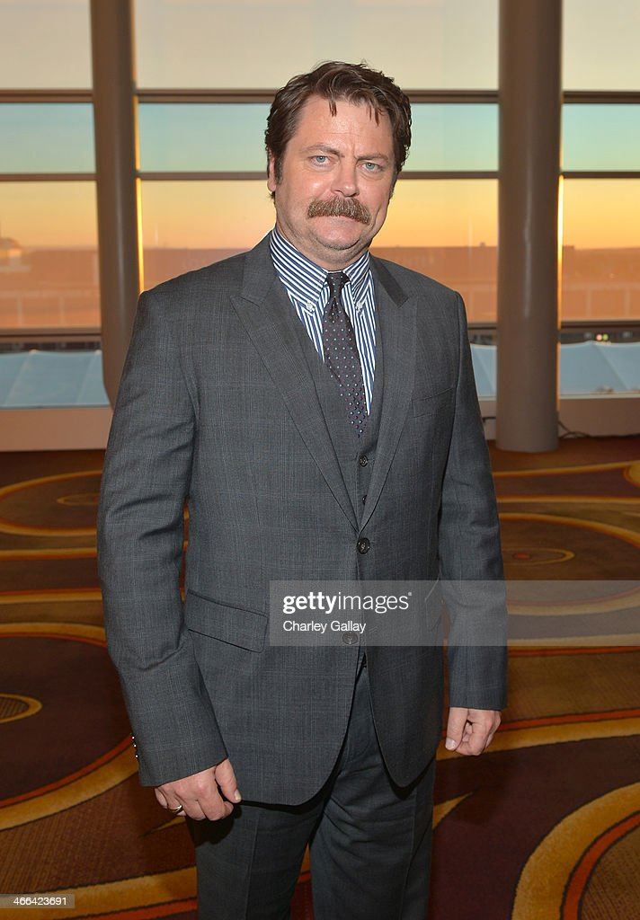 Actor Nick Offerman attends the 2014 Writers Guild Awards LA Ceremony at JW Marriott at LA Live on February 1 2014 in Los Angeles California