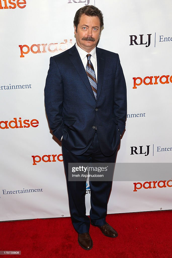 Actor Nick Offerman attends the premiere of DirecTV's 'Paradise' at Mann Chinese 6 on August 6, 2013 in Los Angeles, California.