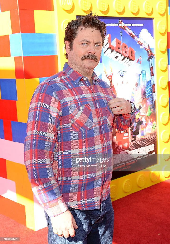 Actor <a gi-track='captionPersonalityLinkClicked' href=/galleries/search?phrase=Nick+Offerman&family=editorial&specificpeople=3142027 ng-click='$event.stopPropagation()'>Nick Offerman</a> attends the premiere of 'The LEGO Movie' at Regency Village Theatre on February 1, 2014 in Westwood, California.