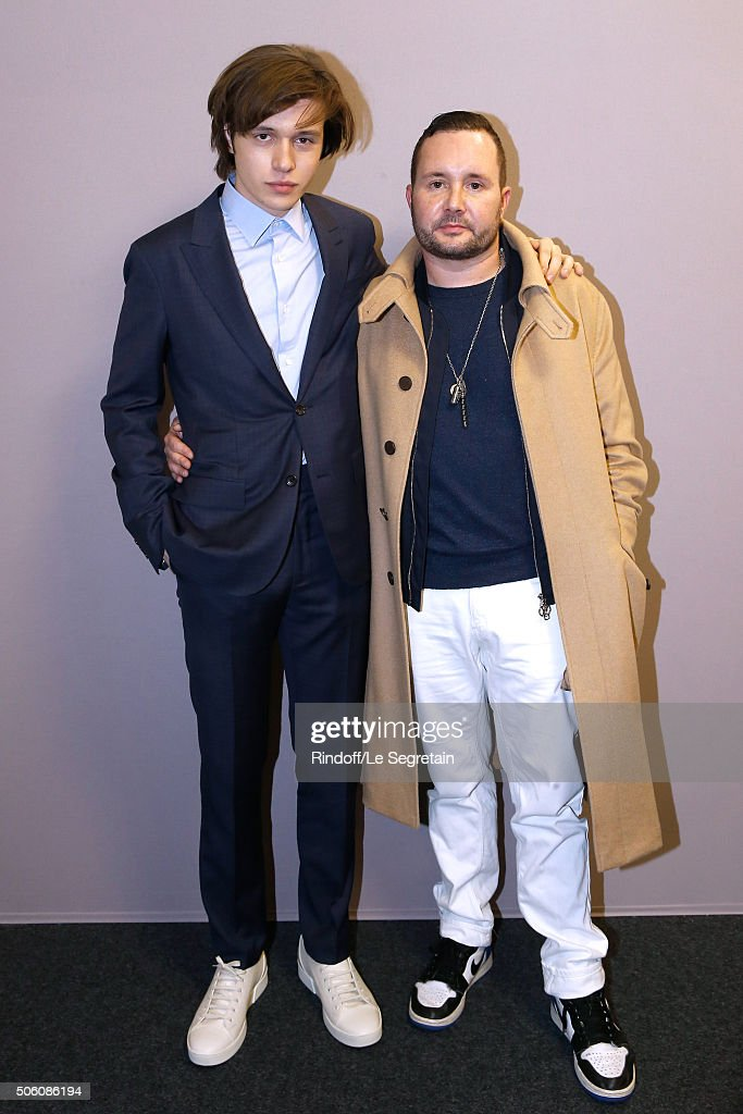 Actor Nick Robinson and Stylist Kim Jones pose Backstage after the Louis Vuitton Menswear Fall/Winter 2016-2017 Fashion Show as part of Paris Fashion Week. Held at 'Parc Andre Citroen' on January 21, 2016 in Paris, France.