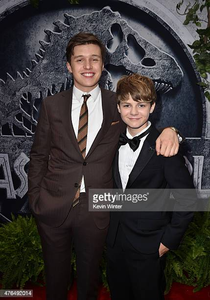 Actor Nick Robinson and Ty Simpkins attend the Universal Pictures' 'Jurassic World' premiere at the Dolby Theatre on June 9 2015 in Hollywood...
