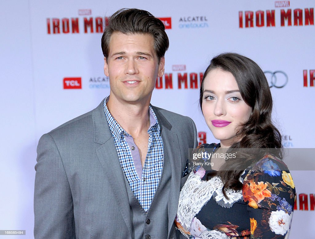 Actor Nick Zano (L) and actress Kat Dennings arrive at the Los Angeles Premiere 'Iron Man 3' at the El Capitan Theatre on April 24, 2013 in Hollywood, California.