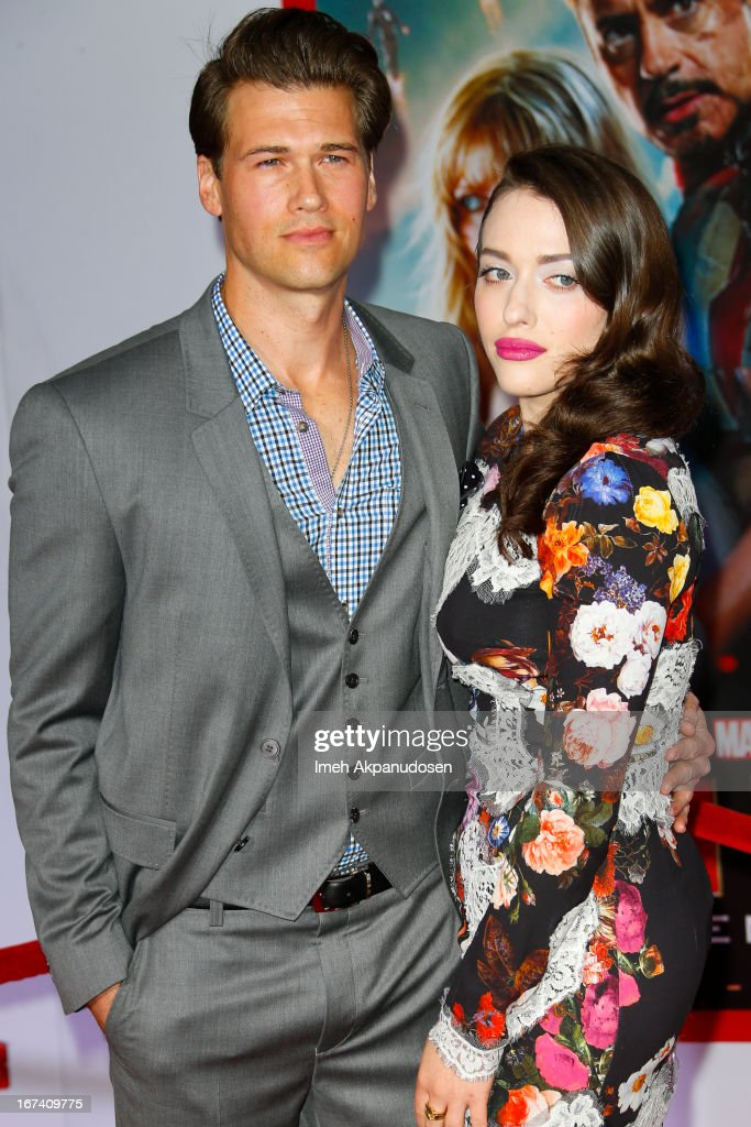 Actor Nick Zano (L) and actress Kat Dennings attend the premiere of Walt Disney Pictures' 'Iron Man 3' at the El Capitan Theatre on April 24, 2013 in Hollywood, California.