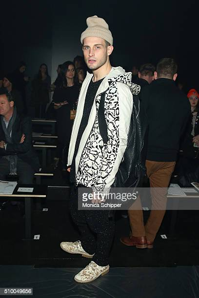 Actor Nico Tortorella attends the Baja East Fall 2016 fashion show during New York Fashion Week The Shows at The Dock Skylight at Moynihan Station on...