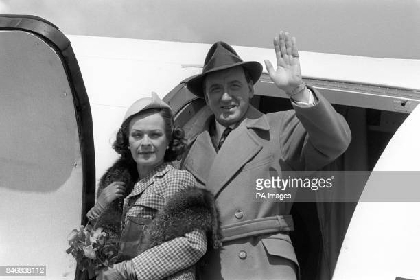 Actor Nicol Williamson and actress Janet Suzman as Rear Admiral the Viscount Mountbatten and Lady Mountbatten on location at Notholt Airport...