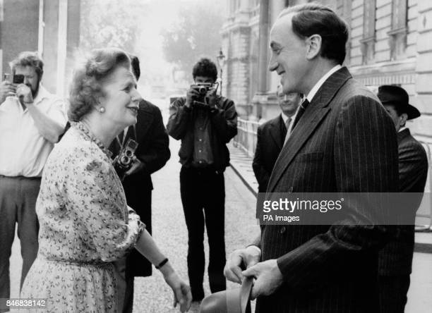 Actor Nicol Williamson meets the Prime Minister Margaret Thatcher as he prepares to film a scene in Downing Street for the six hour long miniseries...