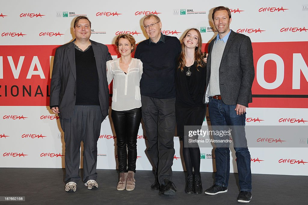 Actor Nicolas Bro,actress Helle Fagralid, director Nils Malmros,actress Maja Dybboe, actor<a gi-track='captionPersonalityLinkClicked' href=/galleries/search?phrase=Jakob+Cedergren&family=editorial&specificpeople=2394592 ng-click='$event.stopPropagation()'>Jakob Cedergren</a> attend the 'Sorrow And Joy' Photocall during the 8th Rome Film Festival at the Auditorium Parco Della Musica on November 11, 2013 in Rome, Italy.