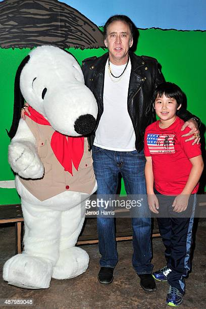 Actor Nicolas Cage and son KalEl Cage visit Knott's Berry Farm on September 12 2015 in Buena Park California