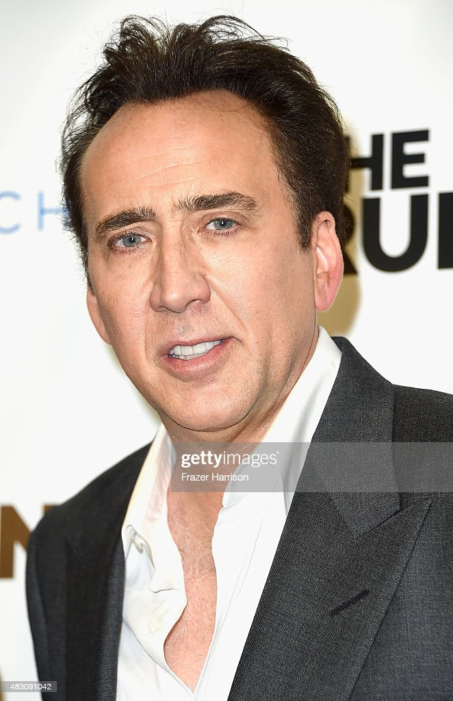 Actor <a gi-track='captionPersonalityLinkClicked' href=/galleries/search?phrase=Nicolas+Cage&family=editorial&specificpeople=196531 ng-click='$event.stopPropagation()'>Nicolas Cage</a> arrives at the Paper Street Films' Screening Of 'The Runner' at TCL Chinese 6 Theatres on August 5, 2015 in Hollywood, California.