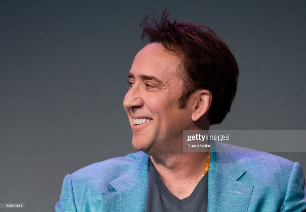 Actor <a gi-track='captionPersonalityLinkClicked' href=/galleries/search?phrase=Nicolas+Cage&family=editorial&specificpeople=196531 ng-click='$event.stopPropagation()'>Nicolas Cage</a> attends 'Meet The Filmmakers' at Apple Store Soho on April 10, 2014 in New York City.