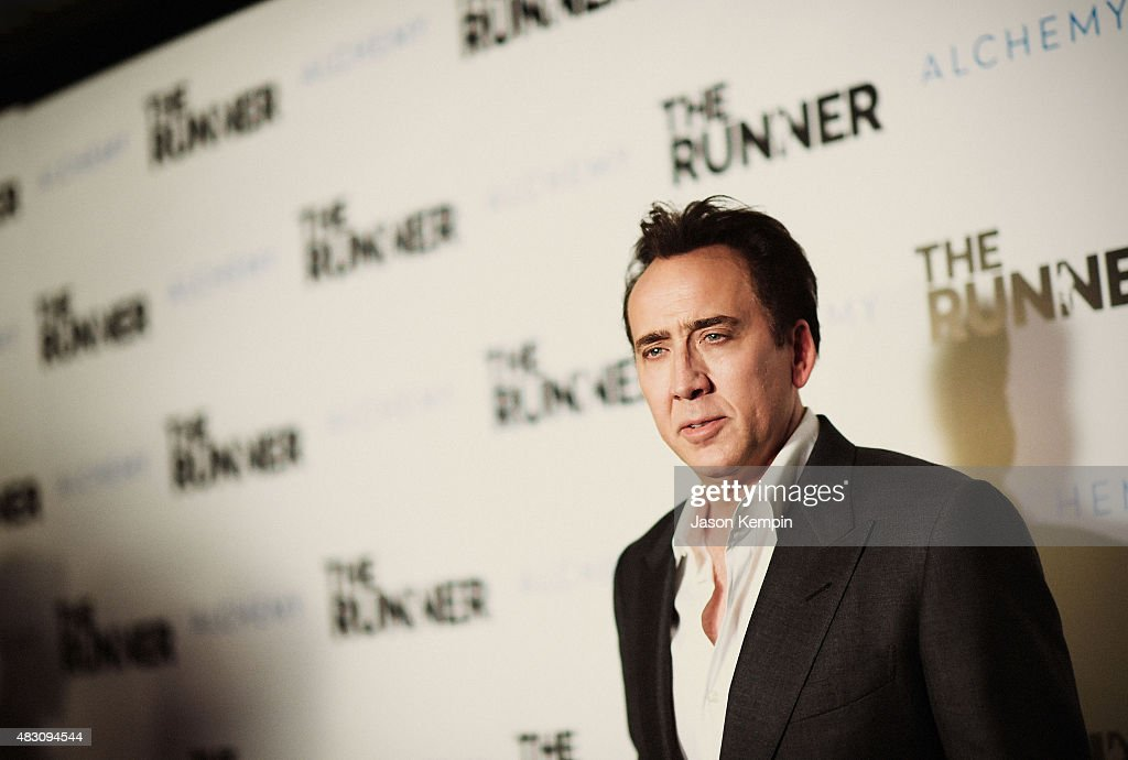 Actor <a gi-track='captionPersonalityLinkClicked' href=/galleries/search?phrase=Nicolas+Cage&family=editorial&specificpeople=196531 ng-click='$event.stopPropagation()'>Nicolas Cage</a> attends Paper Street Films' Screening Of 'The Runner' at TCL Chinese 6 Theatres on August 5, 2015 in Hollywood, California.