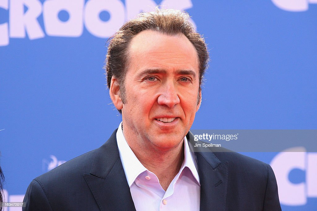 Actor <a gi-track='captionPersonalityLinkClicked' href=/galleries/search?phrase=Nicolas+Cage&family=editorial&specificpeople=196531 ng-click='$event.stopPropagation()'>Nicolas Cage</a> attends 'The Croods' premiere at AMC Loews Lincoln Square 13 theater on March 10, 2013 in New York City.