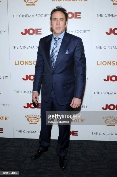 Actor Nicolas Cage attends the 'Joe' screening hosted by Lionsgate and Roadside Attractions with The Cinema Society at Landmark Sunshine Cinema on...