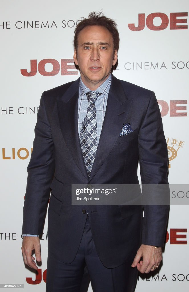 Actor <a gi-track='captionPersonalityLinkClicked' href=/galleries/search?phrase=Nicolas+Cage&family=editorial&specificpeople=196531 ng-click='$event.stopPropagation()'>Nicolas Cage</a> attends the Lionsgate & Roadside Attractions with The Cinema Society premiere of 'Joe' at Landmark's Sunshine Cinema on April 9, 2014 in New York City.