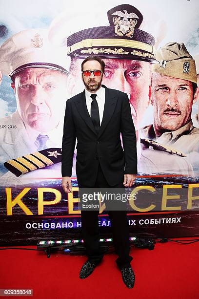 Actor Nicolas Cage attends the premiere of 'USS Indianapolis Men of Courage' at Five Stars cinema hall on September 20 2016 in Moscow Russia