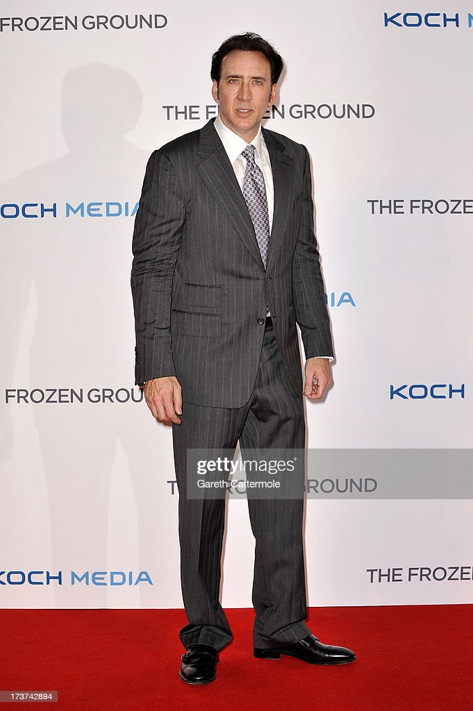 Actor <a gi-track='captionPersonalityLinkClicked' href=/galleries/search?phrase=Nicolas+Cage&family=editorial&specificpeople=196531 ng-click='$event.stopPropagation()'>Nicolas Cage</a> attends the UK Premiere of 'The Frozen Ground' at Vue West End on July 17, 2013 in London, England.