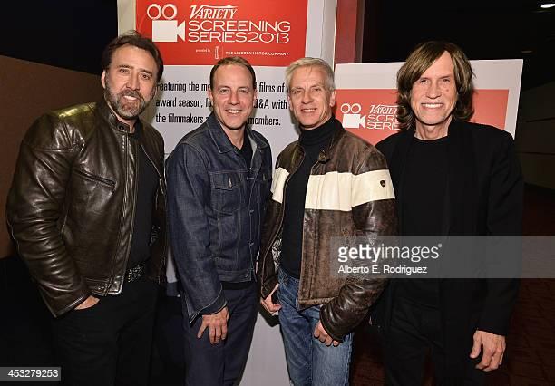 Actor Nicolas Cage codirectors Kirk De Micco Chris Saanders and composer/lyricist Glen Ballard attend the 2013 Variety Screening Series of 'The...