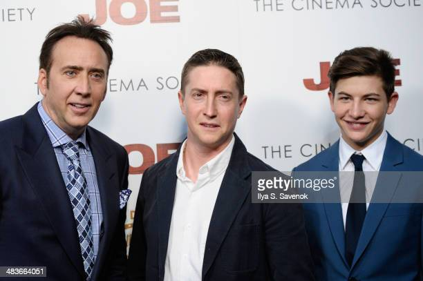 Actor Nicolas Cage Filmmaker David Gordon Green and Actor Tye Sheridan attend the 'Joe' screening hosted by Lionsgate and Roadside Attractions with...