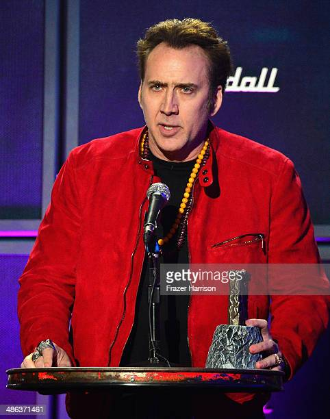 Actor Nicolas Cage speaks onstage at the 2014 Revolver Golden Gods Awards at Club Nokia on April 23 2014 in Los Angeles California