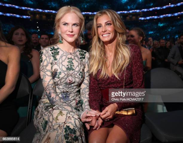 Actor Nicole Kidman and singer Faith Hill attend the 52nd Academy of Country Music Awards at TMobile Arena on April 2 2017 in Las Vegas Nevada