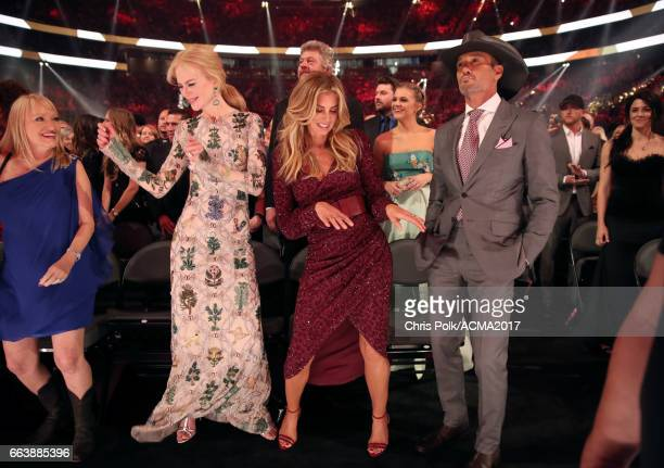 Actor Nicole Kidman singer Faith Hill singer Kelsea Ballerini and singer Tim McGraw attend the 52nd Academy of Country Music Awards at TMobile Arena...
