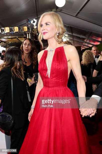 Actor Nicole Kidman walks the red carpet during the 69th Annual Primetime Emmy Awards at Microsoft Theater on September 17 2017 in Los Angeles...