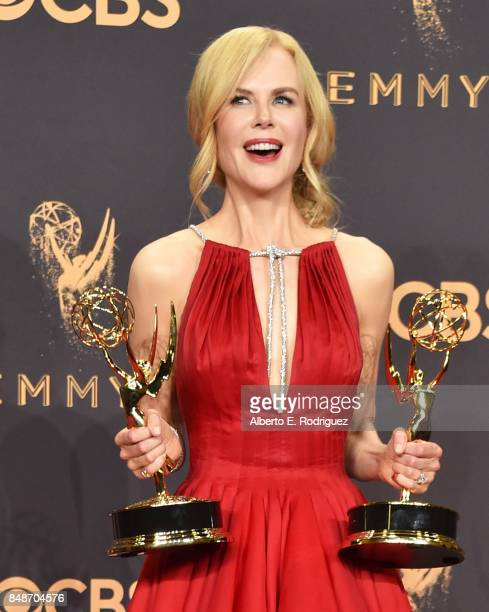 Actor Nicole Kidman winner of Outstanding Lead Actress in a Limited Series or Movie and Outstanding Limited Series for 'Big Little Lies' poses in the...
