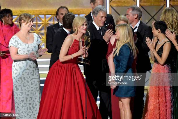 Actor Nicole Kidman writerproducer David E Kelley actor Reese Witherspoon and actor Zoe Kravitz accept the Outstanding Limited Series award for 'Big...