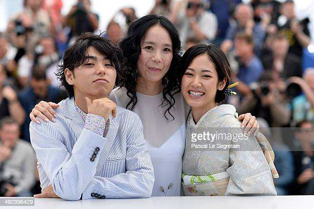 Actor Nijiro Murakami director Naomi Kawase and actress Jun Yoshinaga attend the 'Futatsume No Mado' photocall during the 67th Annual Cannes Film...
