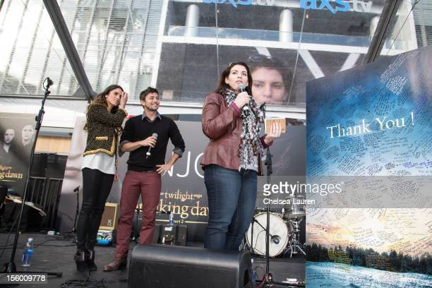 Actor Nikki Reed actor Jackson Rathbone and author Stephenie Meyer attend the Twilight fan camp concert at LA LIVE on November 10 2012 in Los Angeles...