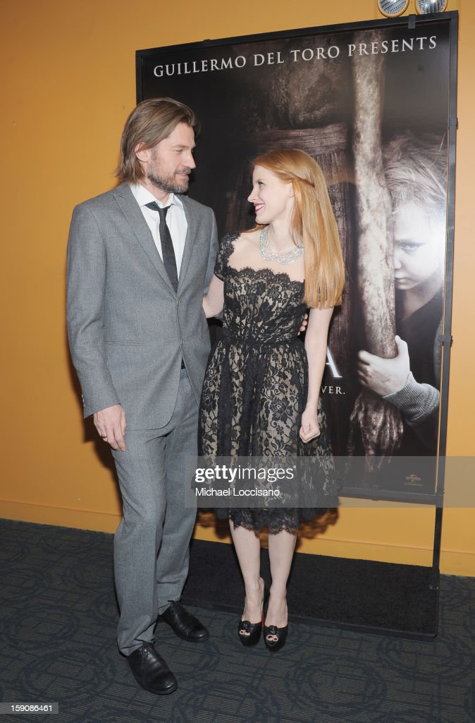 Actor Nikolaj Coster-Waldau and actress <a gi-track='captionPersonalityLinkClicked' href=/galleries/search?phrase=Jessica+Chastain&family=editorial&specificpeople=653192 ng-click='$event.stopPropagation()'>Jessica Chastain</a> attend the 'Mama' New York Screening at Landmark's Sunshine Cinema on January 7, 2013 in New York City.