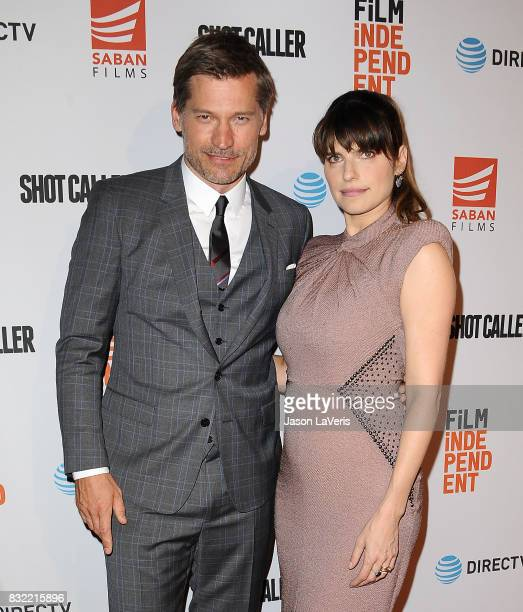 Actor Nikolaj CosterWaldau and actress Lake Bell attend the premiere of 'Shot Caller' at The Theatre at Ace Hotel on August 15 2017 in Los Angeles...
