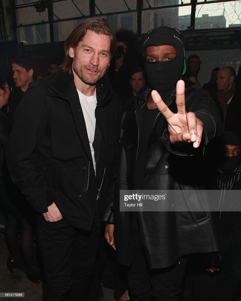 Actor Nikolaj Coster-Waldau and rapper A$AP Rocky attend the Y-3 Fall 2013 Mercedes-Benz Fashion Show at 80 Essex Street on February 10, 2013 in New York City.