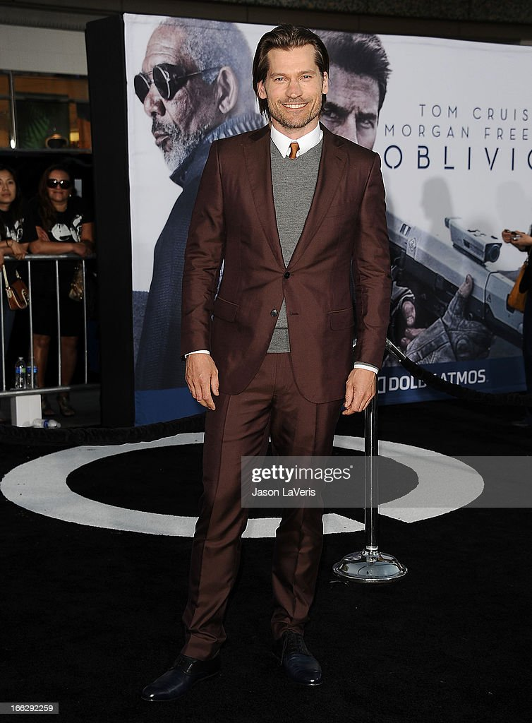 Actor Nikolaj Coster-Waldau attends the premiere of 'Oblivion' at the Dolby Theatre on April 10, 2013 in Hollywood, California.