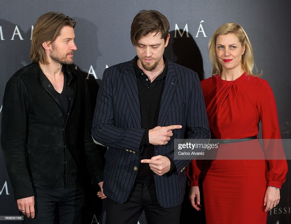 Actor Nikolaj Coster-Waldau, director Andy Muschietti and producer Barbara Muschietti attend the 'Mama' photocall at the on February 4, 2013 in Madrid, Spain.