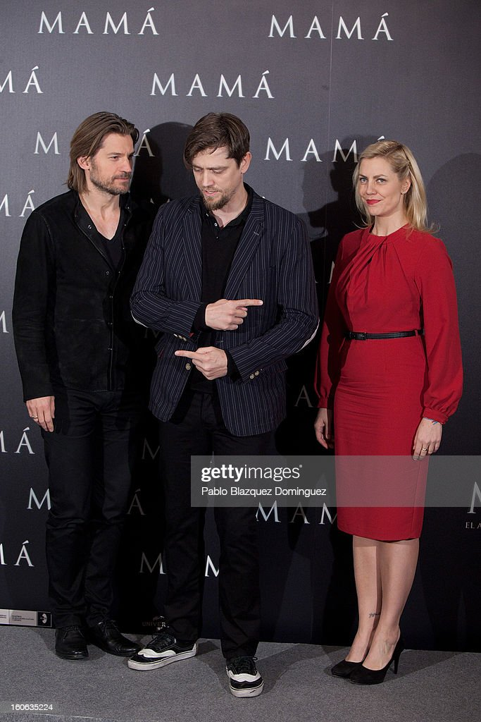 Actor Nikolaj Coster-Waldau, Director Andy Muschietti and producer Barbara Muschietti attend the 'Mama' photocall at Villamagna Hotel on February 4, 2013 in Madrid, Spain.