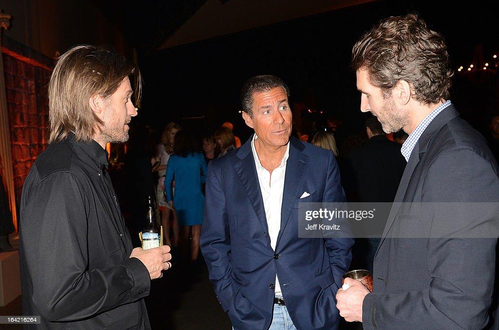 Actor Nikolaj Coster-Waldau, HBO CEO Richard Plepler and writer/executive producer David Benioff attend HBO's 'Game Of Thrones' Season 3 San Francisco Premiere on March 20, 2013 in San Francisco, California.