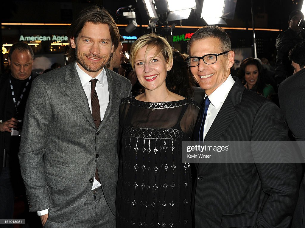 Actor Nikolaj Coster-Waldau, President of HBO Entertainment, Sue Naegle, and President HBO Programming Mike Lombardo arrive at the premiere of HBO's 'Game Of Thrones' Season 3 at TCL Chinese Theatre on March 18, 2013 in Hollywood, California.
