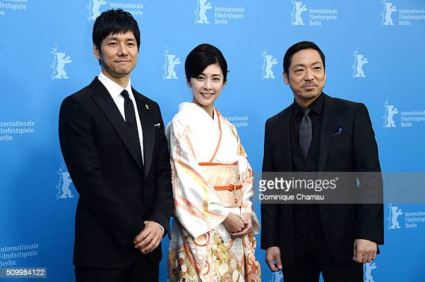 Actor Nishijima Hidetoshi actress Yuko Takeuchi and actor Teruyuki Kagawa attend the 'Creepy' photo call during the 66th Berlinale International Film...