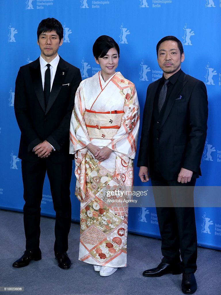 Actor Nishijima Hidetoshi, actress Yuko Takeuchi and actor Teruyuki Kagawa attend the 'Creepy' photo call during the 66th Berlinale International Film Festival Berlin at Grand Hyatt Hotel on February 13, 2016 in Berlin, Germany.