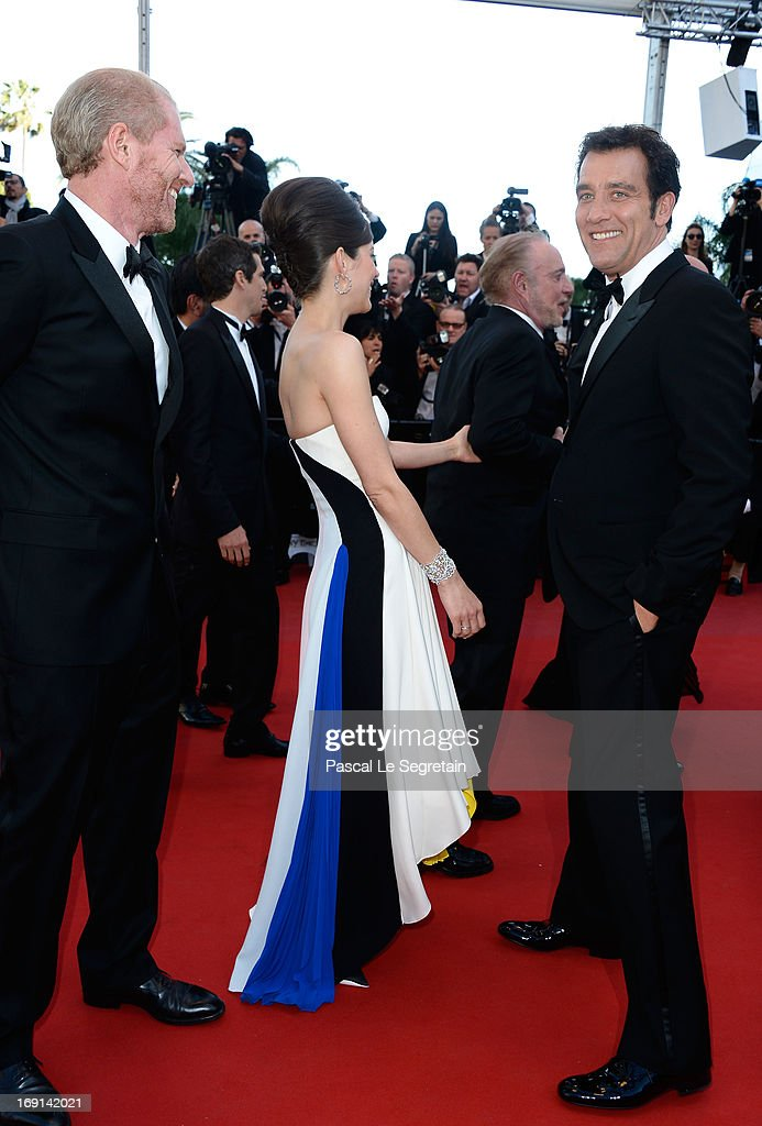 Actor Noah Emmerich, actress Marion Cotillard and actor Clive Owen attend the 'Blood Ties' Premiere during the 66th Annual Cannes Film Festival at Grand Theatre Lumiere on May 20, 2013 in Cannes, France.