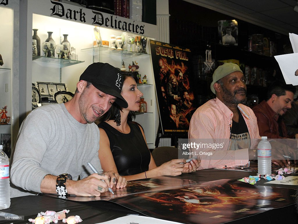 Actor Noah Hathaway, actress Cortney Palm and actor Tony Todd participate in the Blu-ray And DVD Release Party For Magnolia Home Entertainment's 'Sushi Girl' held at Dark Delicacies Bookstore on February 19, 2013 in Burbank, California.